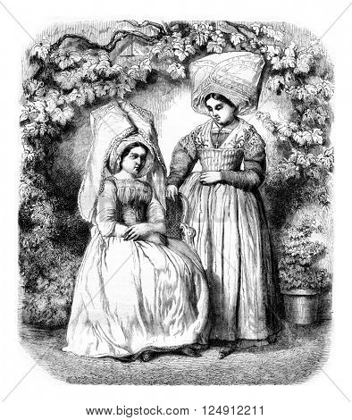 Women's costumes from the island of Re, vintage engraved illustration. Magasin Pittoresque 1861.