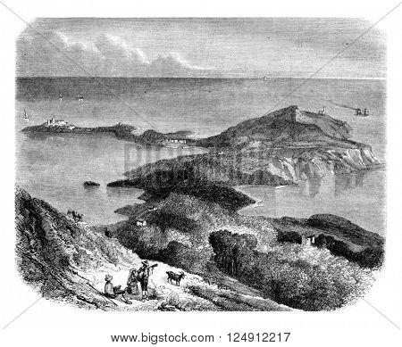 Bay Villafranca, vintage engraved illustration. Magasin Pittoresque 1861.