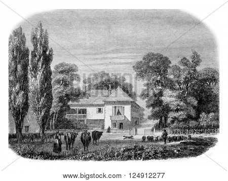 House Sismondi in Oaks, near Geneva, vintage engraved illustration. Magasin Pittoresque 1857.