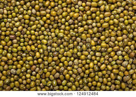 Closeup of a lot of Mung beans