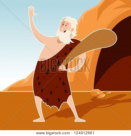 Vector image of the Caveman and a cove