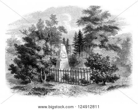 Sismondi tomb in the cemetery of Chenes, near Geneva, vintage engraved illustration. Magasin Pittoresque 1857.