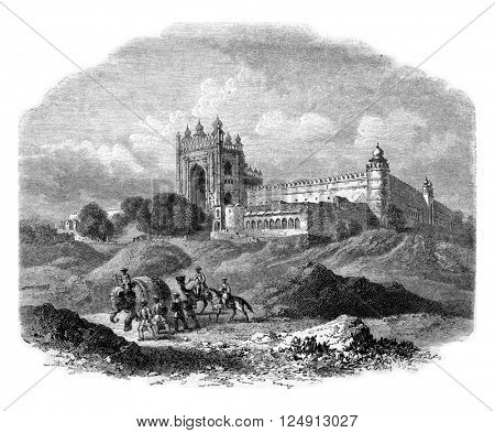 Futtehpore, in the country of Oude, on the road from Varanasi to Lucknow and Cawnpore, vintage engraved illustration. Magasin Pittoresque 1857.