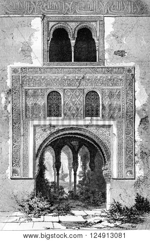 An interior door of the Alhambra, vintage engraved illustration. Magasin Pittoresque 1857.