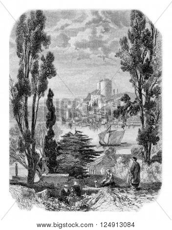 Bosphorus, The Castles of Europe, seen from the Asian side, vintage engraved illustration. Magasin Pittoresque 1857.