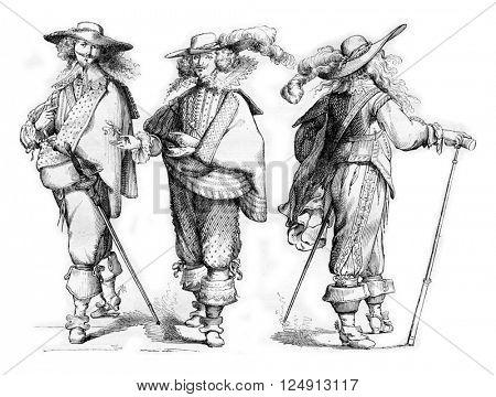 Gentlemen of 1625-1630, for after Abraham Bosse, vintage engraved illustration. Magasin Pittoresque 1857.