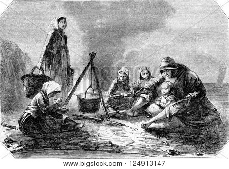 1857 Exhibition of Painting, A Family of fishermen, for Jeanron, vintage engraved illustration. Magasin Pittoresque 1857.