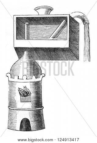 Apparatus JB Porta or high water vapor above its level, vintage engraved illustration. Magasin Pittoresque 1847.