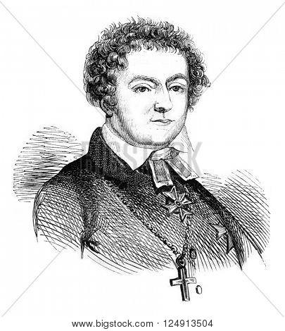 Portrait of Swedish poet Tegner, who died in 1845, vintage engraved illustration. Magasin Pittoresque 1847.