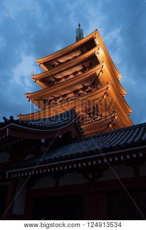view of the Asakusa temple in Tokyo Japan