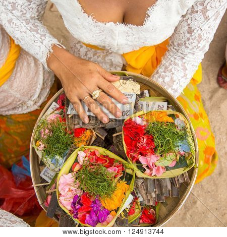 Grass and money - sacrifice at Balinese ceremonies.