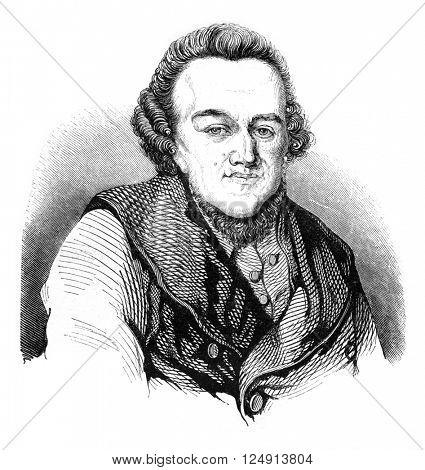 Moses Mendelssohn, vintage engraved illustration. Magasin Pittoresque 1847.