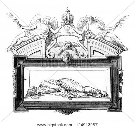 Sketch of the entire tomb, vintage engraved illustration. Magasin Pittoresque 1847.