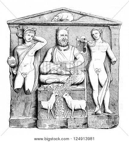 Museum Reims, Gallo-Roman altar, vintage engraved illustration. Magasin Pittoresque 1847.