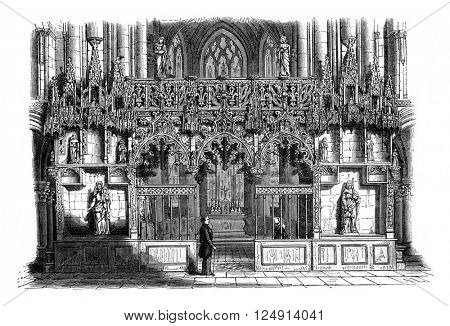 Rood loft of the church of Sainte-Madeleine, Troyes, vintage engraved illustration. Magasin Pittoresque 1847.