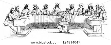 Last Supper, vintage engraved illustration. Magasin Pittoresque 1847.
