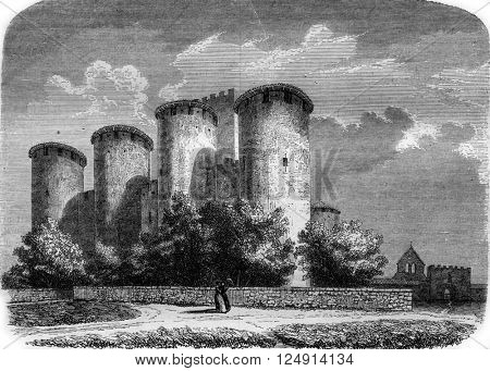 Castle Roquetaillade, Gironde, vintage engraved illustration. Magasin Pittoresque 1847.