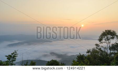 Sunrise over mountain and mist in the morning at sri nan national park thailand ** Note: Soft Focus at 100%, best at smaller sizes