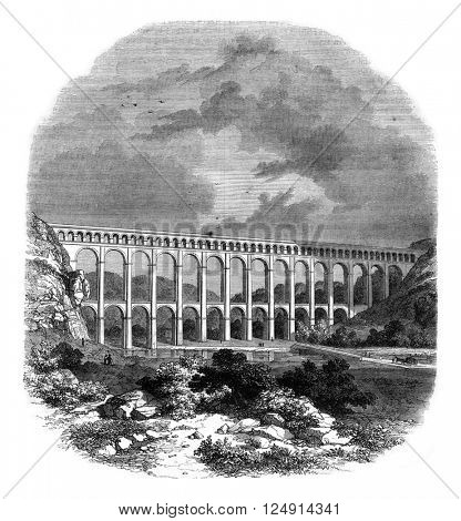 Aqueduct of Roquefavour, vintage engraved illustration. Magasin Pittoresque 1847.