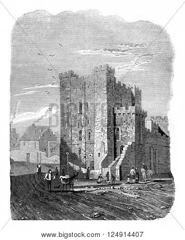 The Castle, Newcastle, vintage engraved illustration. Colorful History of England, 1837.