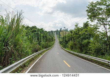 Empty road on mountain and green nature in nan province thailand