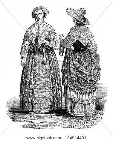 Costumes of the reign of Charles I, vintage engraved illustration. Colorful History of England, 1837.