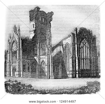 Melrose Abbey, Scotland, partly destroyed in 1650, vintage engraved illustration. Colorful History of England, 1837.