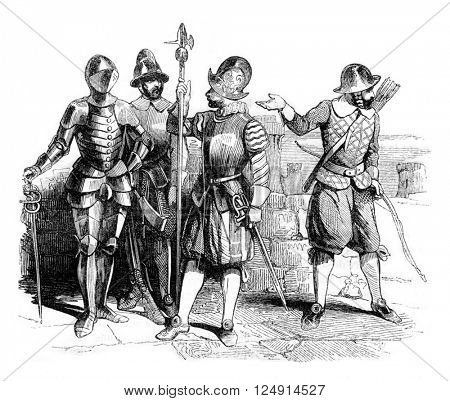 Military Costumes beginning of the reign of Elizabeth, vintage engraved illustration. Colorful History of England, 1837.