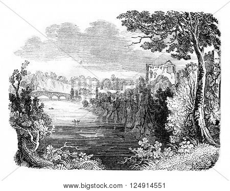 Chepstow Castle Ruins, vintage engraved illustration. Colorful History of England, 1837.