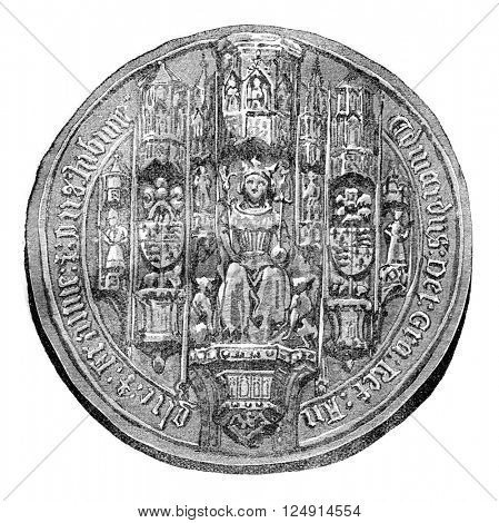 Seal of Edward IV, vintage engraved illustration. Colorful History of England, 1837.