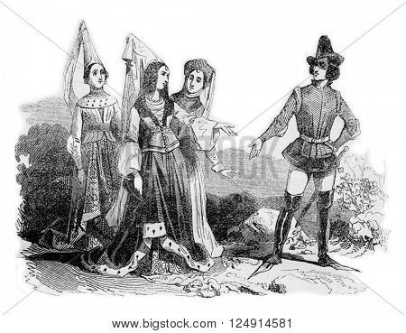Costumes time of Edward IV, vintage engraved illustration. Colorful History of England, 1837.