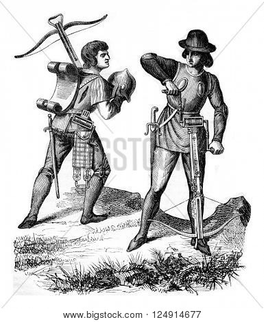 Costumes archers under Henry VI, vintage engraved illustration. Colorful History of England, 1837.