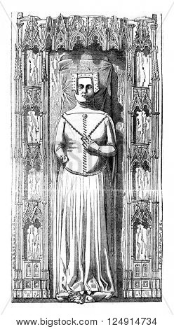 Effigy of Queen Philippa, placed on his tomb in the cathedral of Gloucester, vintage engraved illustration. Colorful History of England, 1837.