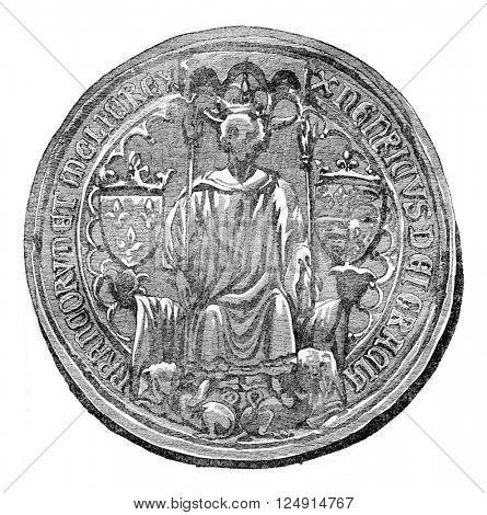 Seal of Henry IV, vintage engraved illustration. Colorful History of England, 1837.