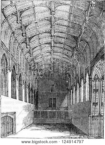 Crosby inside the large dining hall, vintage engraved illustration. Colorful History of England, 1837.