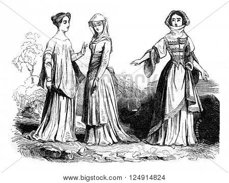 Woman Costume, 1384, vintage engraved illustration. Colorful History of England, 1837.