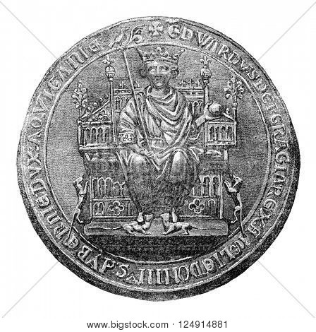 Seal of Edward II, vintage engraved illustration. Colorful History of England, 1837.