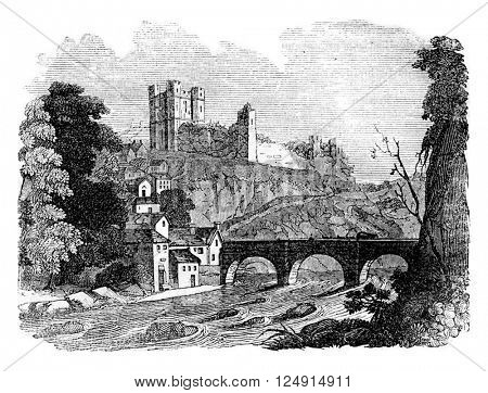 Richmond Castle, vintage engraved illustration. Colorful History of England, 1837.