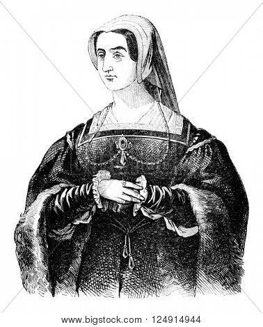 Portrait of Catherine Parr, vintage engraved illustration. Colorful History of England, 1837.