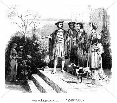 Civil suits of henry viii time, vintage engraved illustration. Colorful History of England, 1837.