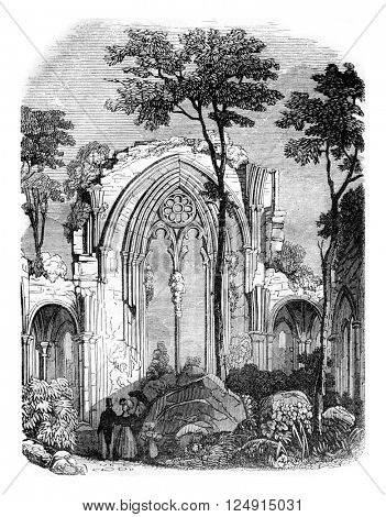 Ruins of the abbey of Netley, near Southampton, it was destroyed under Henry VIII, vintage engraved illustration. Colorful History of England, 1837.