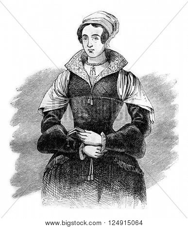 Lady Jane Grey, vintage engraved illustration. Colorful History of England, 1837.
