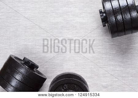 Black Rod with disks on a gray background