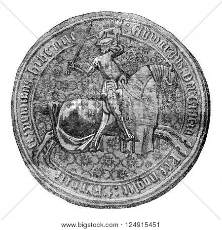 Seal against Edward IV, vintage engraved illustration. Colorful History of England, 1837.