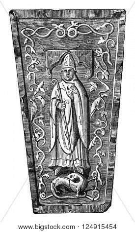 Statue placed on the tomb of the Archbishop of Salisbury, Jocelyn, vintage engraved illustration. Colorful History of England, 1837.
