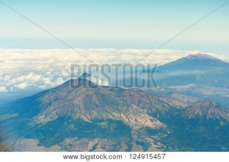 Aerial view of ijen volcano in java indonesia