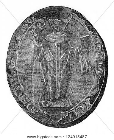 Seal of the archbishop of Canterbury, Anselm, vintage engraved illustration. Colorful History of England, 1837.