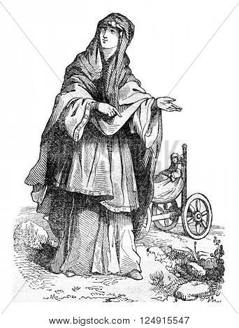 Saxon woman, after the Meyrick, vintage engraved illustration. Colorful History of England, 1837.