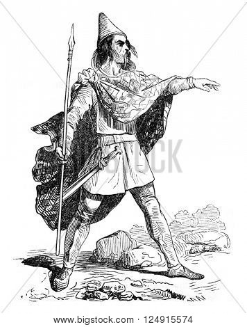 Costume Breton 4th century; derives from the collection of Dr. Meyrick, vintage engraved illustration. Colorful History of England, 1837.