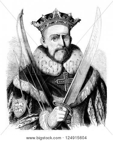 William the Conqueror, vintage engraved illustration. Colorful History of England, 1837.